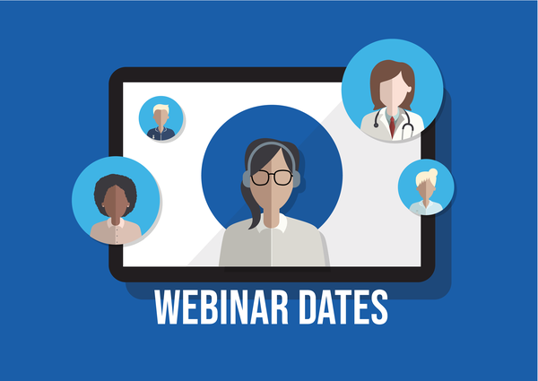 Webinar dates (blue background)